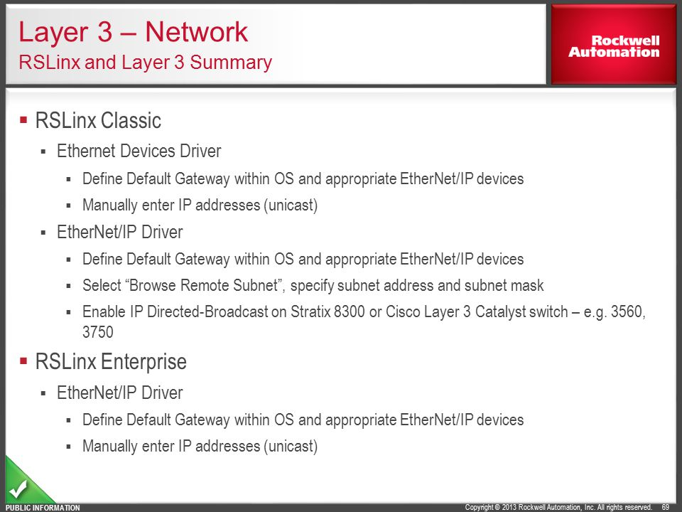 Layer 3 – Network RSLinx and Layer 3 Summary