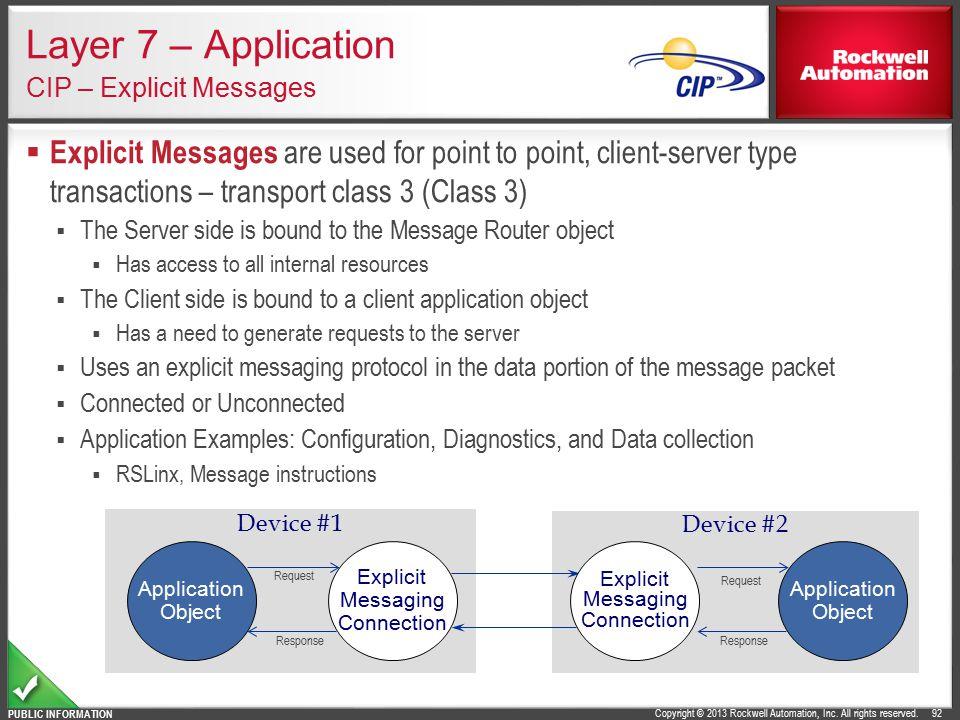 Layer 7 – Application CIP – Explicit Messages