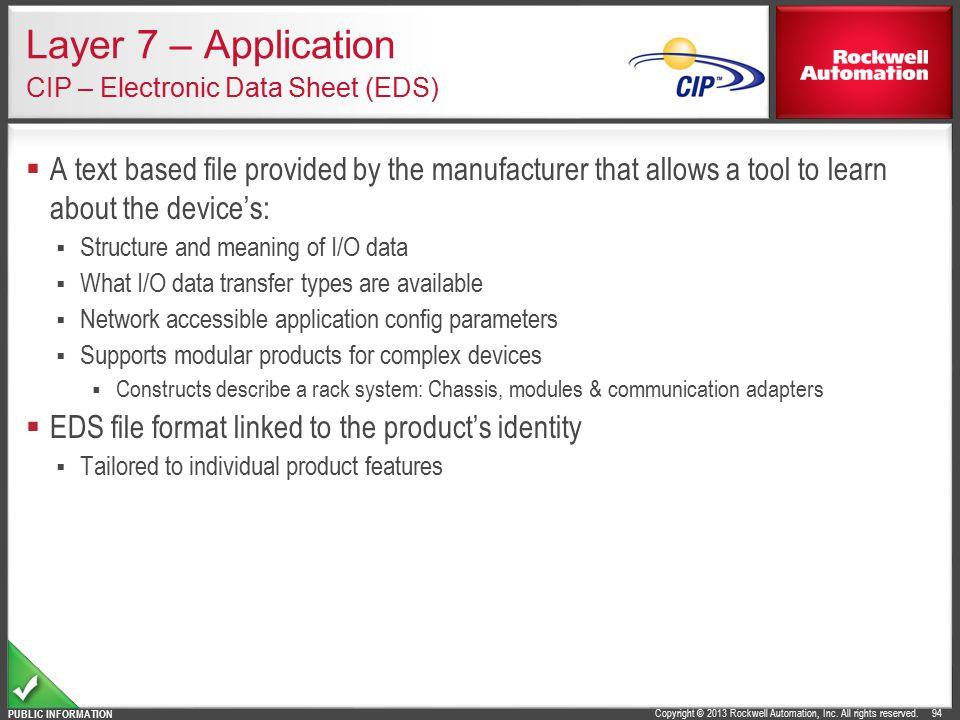 Layer 7 – Application CIP – Electronic Data Sheet (EDS)