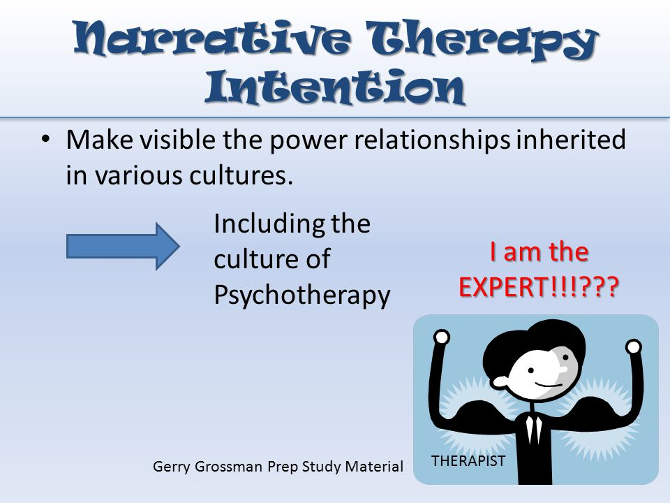 narrative therapy developed by michael white and Narrative mediation is a new approach to mediation that was spurned by narrative family therapy, developed in the mid-1980s by michael white and david epston, in australia.