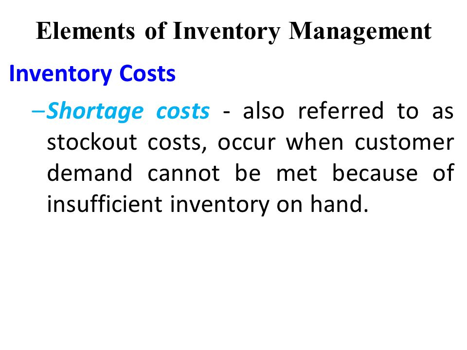 elements of inventory management toyota Mrp is considered a push system -- inventory needs are determined in  the  primary objective of mrp is to make sure that materials and components are.