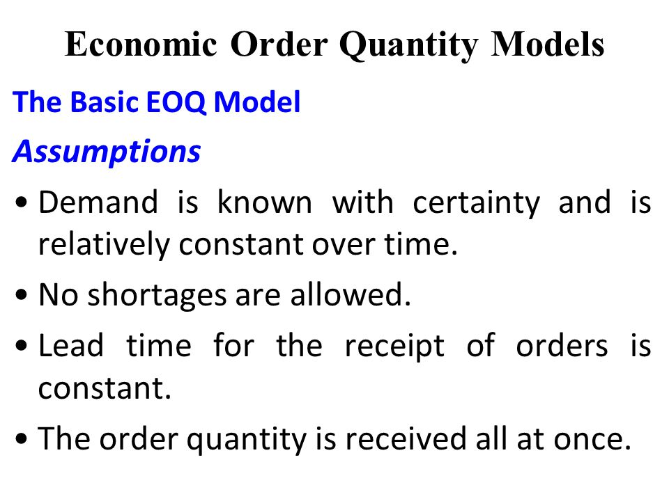 the economic order quantity model eoq In inventory management, economic order quantity (eoq)  the economic order interval can be determined from the eoq and the economic production quantity model.