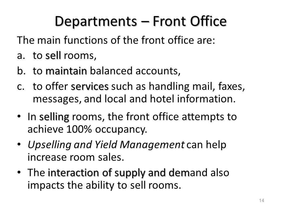 front office department in hotel operations pdf