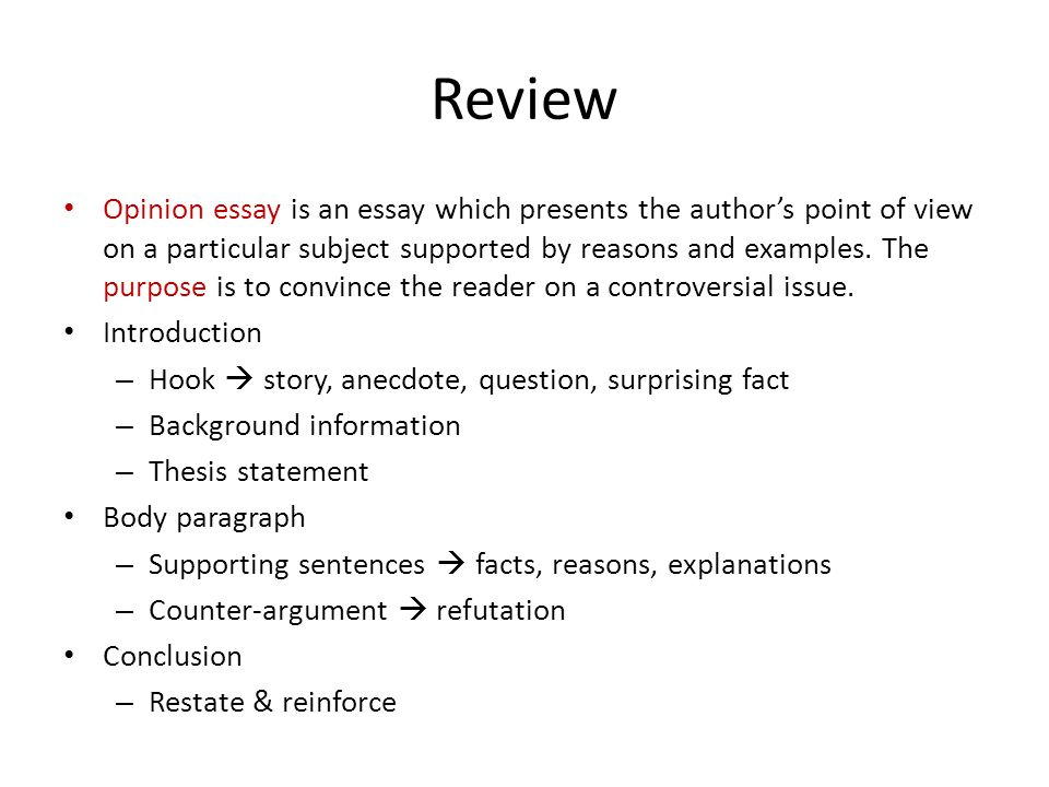 unit opinion essays part ppt video online  2 review