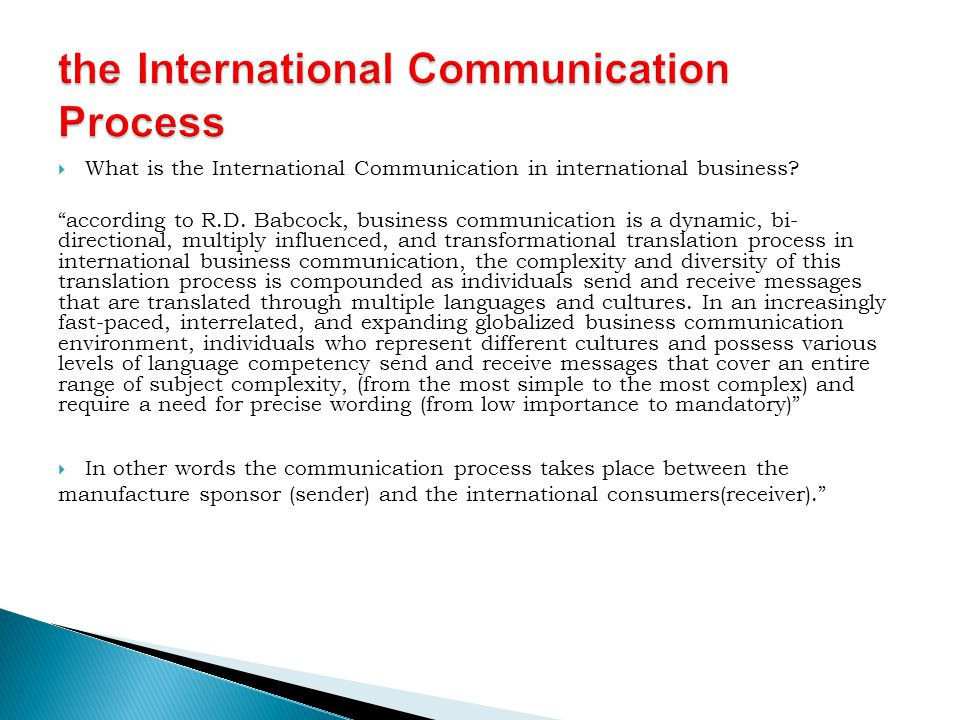 the International Communication Process