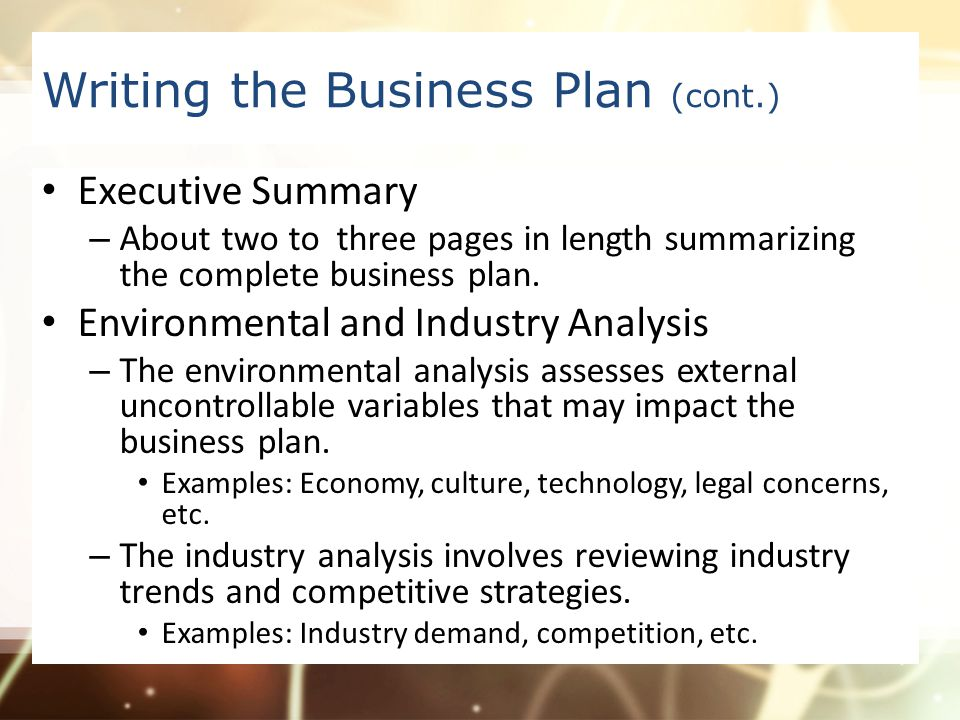 Business Plan Environmental And Industry Analysis  Industry Analysis Example