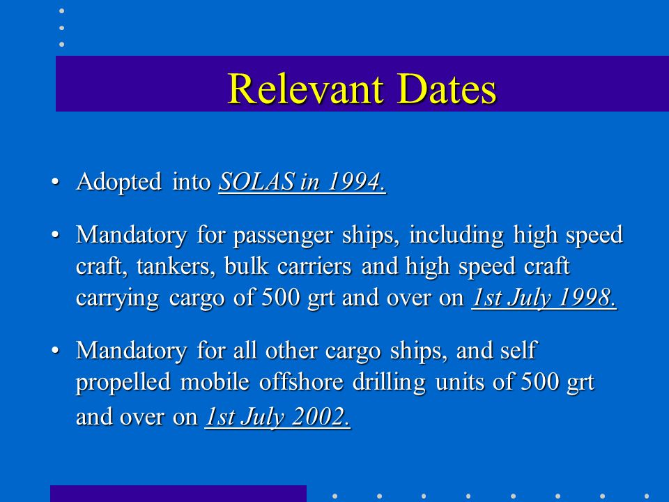 Relevant Dates Adopted into SOLAS in 1994.