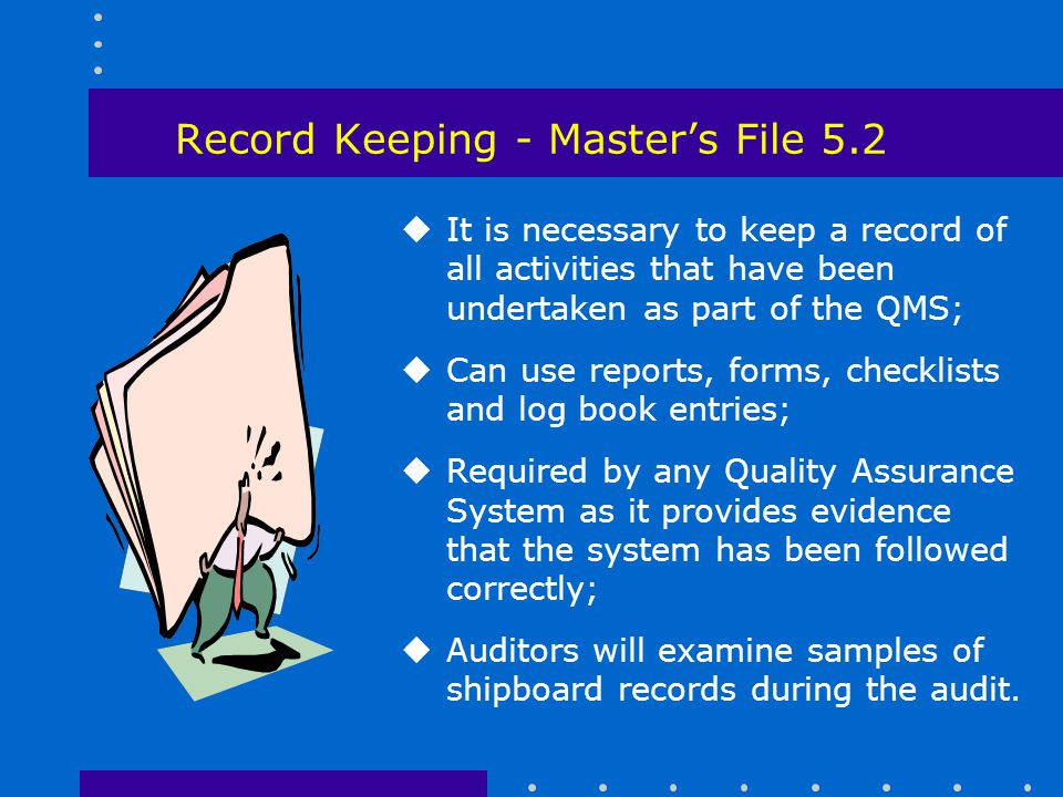 Record Keeping - Master's File 5.2