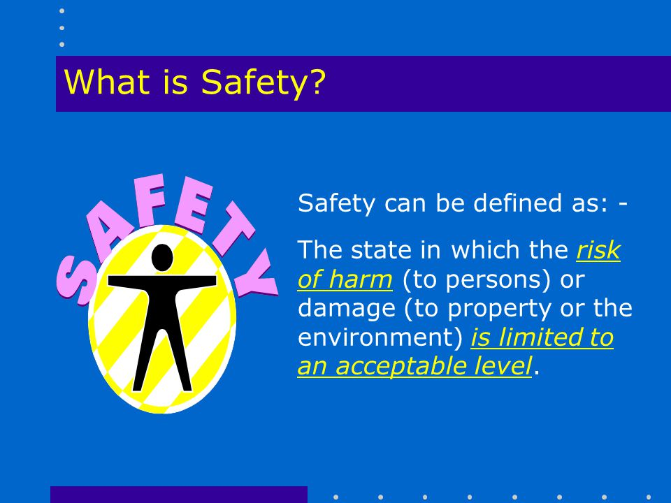 What is Safety Safety can be defined as: -