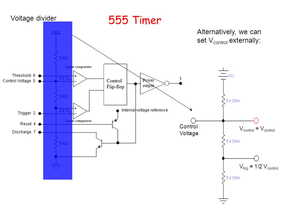 555 Timer Voltage divider. Alternatively, we can set Vcontrol externally: Control Voltage. Vcontrol = Vcontrol.