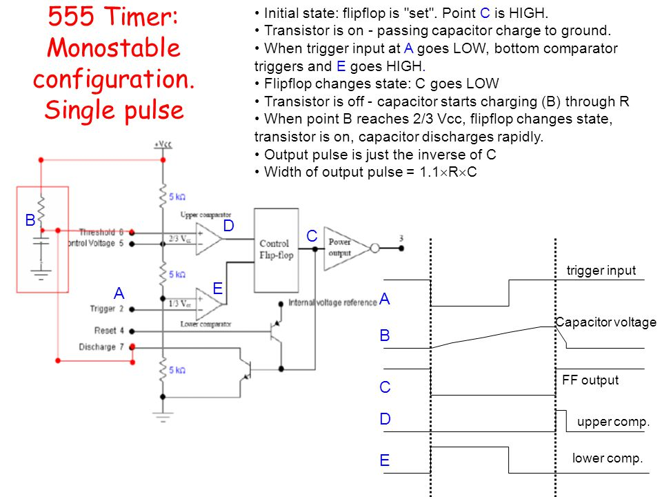 555 Timer: Monostable configuration. Single pulse