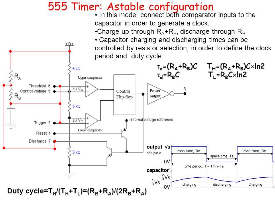 555 Timer: Astable configuration