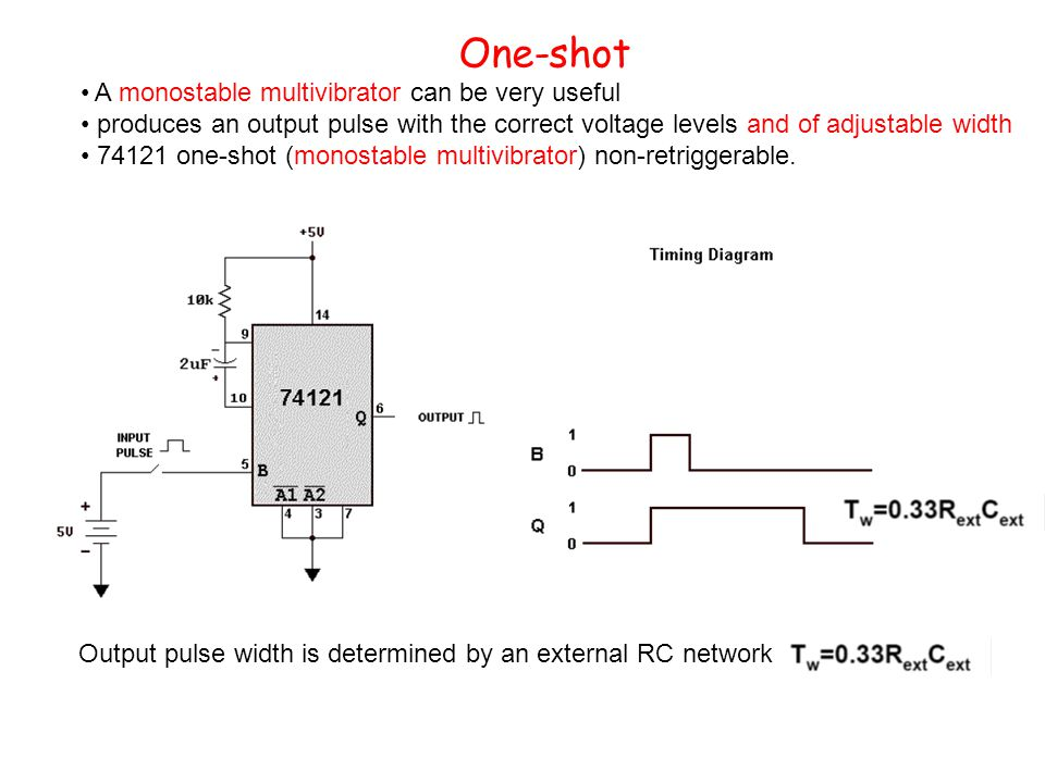 One-shot A monostable multivibrator can be very useful