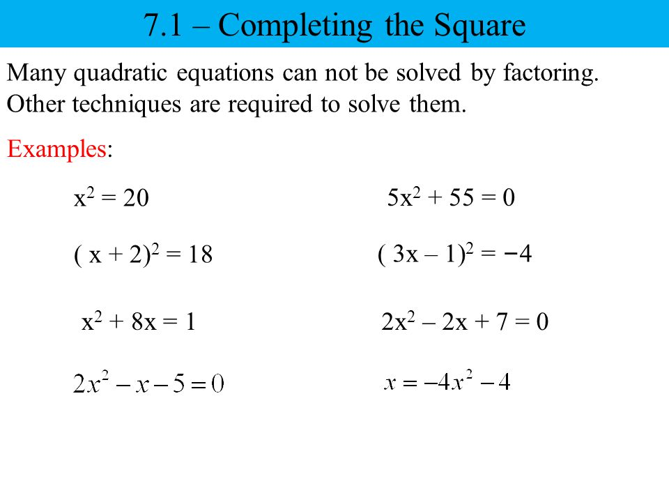71 Completing The Square Ppt Download