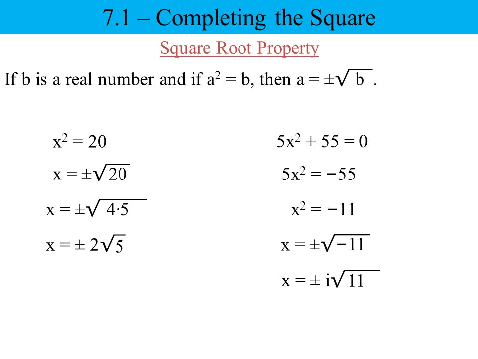 7.1 – Completing the Square
