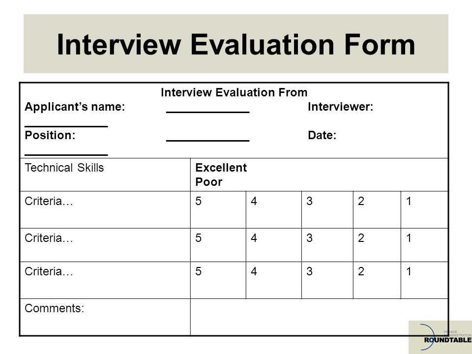 Interview Evaluation Sample Candidate Interview Form Hr Interview