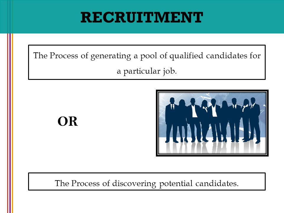 recruitment and potential candidates Recruitment means the overall process of attracting, selecting and appointing appropriate candidates to one or more jobs within an organization, either permanent or.