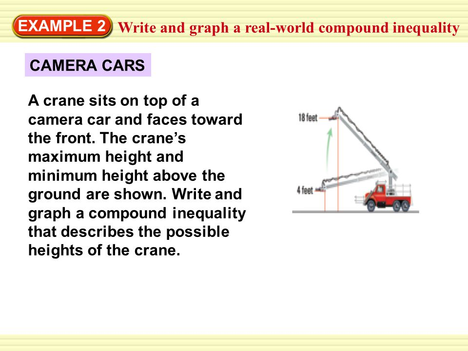 EXAMPLE 2 Write and graph a real-world compound inequality. CAMERA CARS.