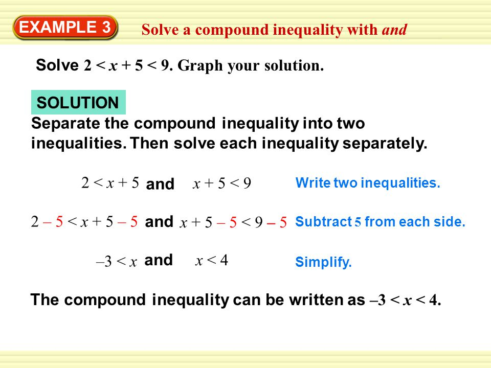 Solve a compound inequality with and