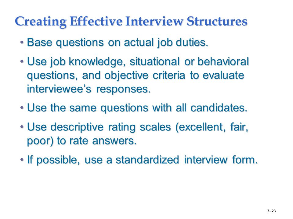 Creating Effective Interview Structures