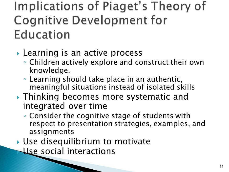 "discuss piagets theory of cognitive development 1 theories of cognitive development: piaget & vygotsky • has hereditary organic reactions • is naturally active • is born without ""mind"" • needs to adapt to environment."