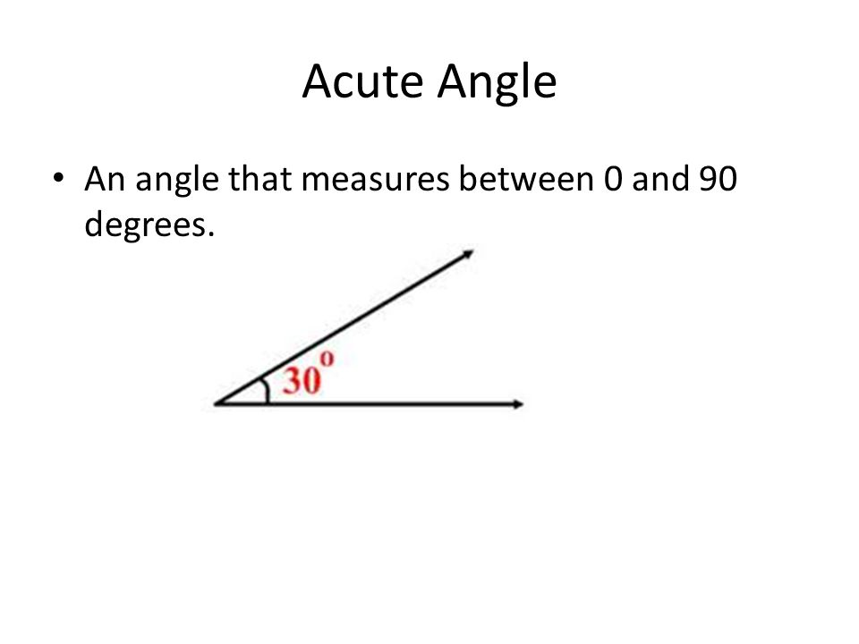 Acute Angle An angle that measures between 0 and 90 degrees.