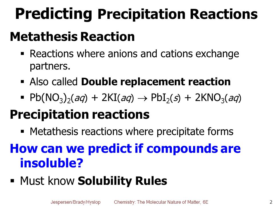 metathesis reaction precipitation View notes - exp_10_precipitation_reactions_(metathesis_reactions) from chem 1405 at hccs experiment 10: precipitation reactions metathesis reactions in aqueous.