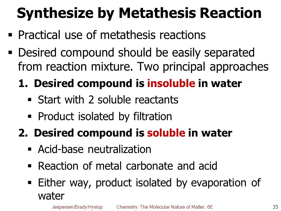 metathesis in water Olefin metathesis in water and aqueous media bruce h lipshutz, and subir ghorai chapter 22 olefin metathesis in green organic solvents and without solvent.