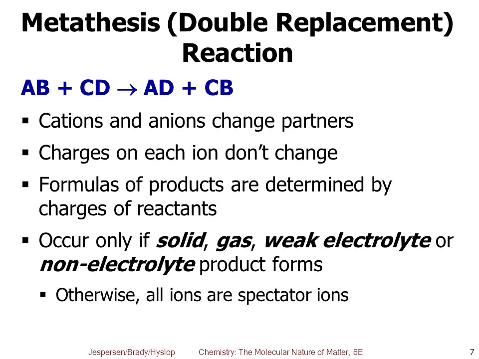 metathesis equation A salt metathesis reaction sometimes called a double replacement reaction or  double displacement reaction, is a chemical process involving the exchange of.