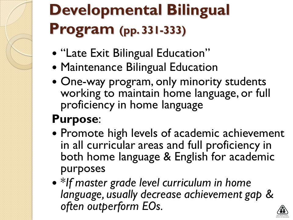 Developmental Bilingual Program (pp )