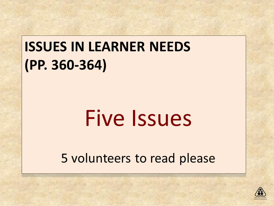 ISSUES IN LEARNER NEEDS (PP )