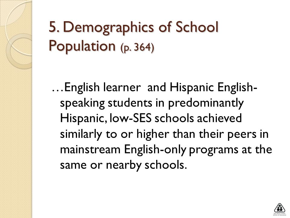 5. Demographics of School Population (p. 364)