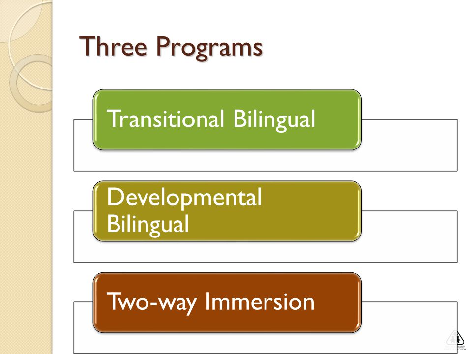 Three Programs Transitional Bilingual Developmental Bilingual