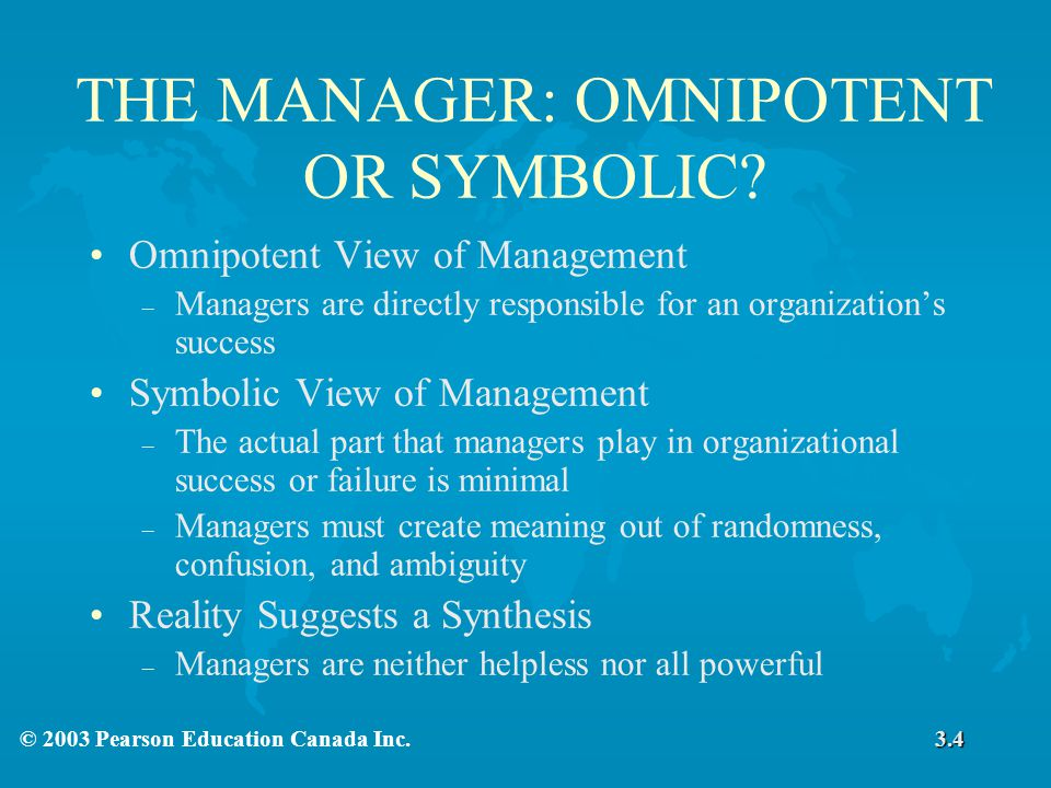 symbolic view of management Symbolic view of management is the view that managers have only a limited effect on substantive organizational outcomes symbolic view of management is because of the.