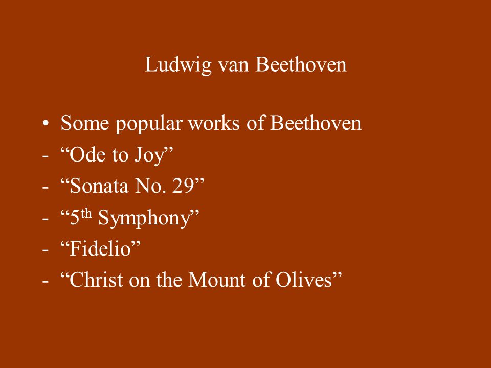 the works of ludwig van beethoven Louis van beethoven a boy of 11 years [sic] and of most promising talent  as  beethoven prepared his first published works, the three piano trios, op.