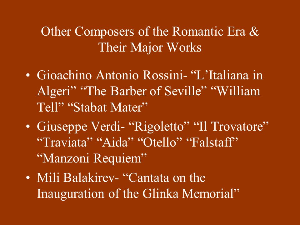 the composers of the romantic era List of the greatest classical composers by classical era romantic era, and modern era, plus greatest orchestrators of each era as compiled by digitaldreamdoorcom.
