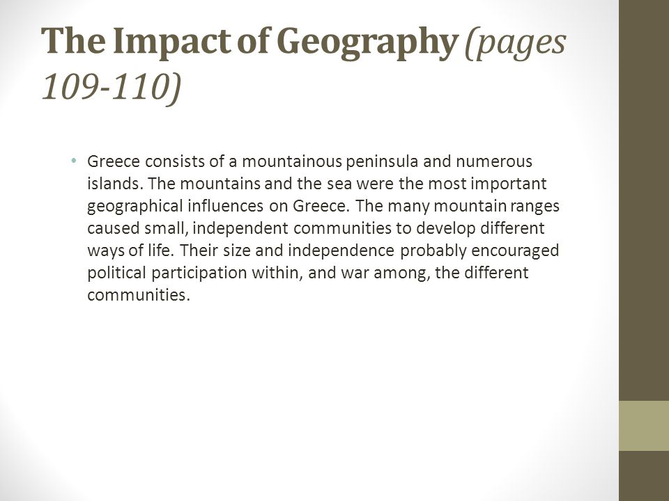 the impact of geography on peoples lives