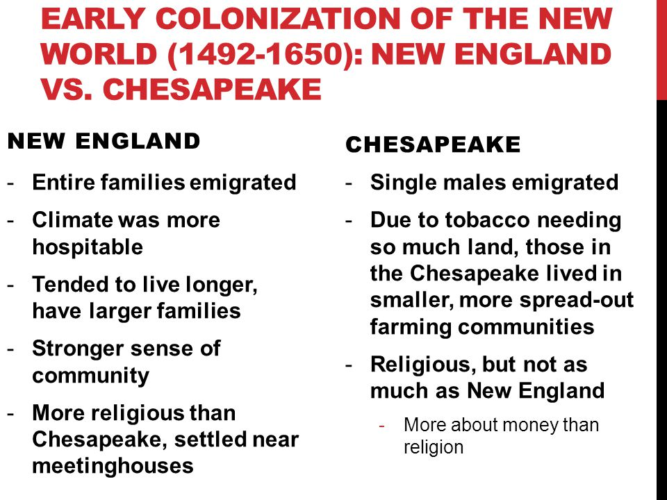 a comparison of new england and chesapeake settlers Essay on differences between the new england despite the fact that the english settlers of the new england and chesapeake a comparison of the new england.
