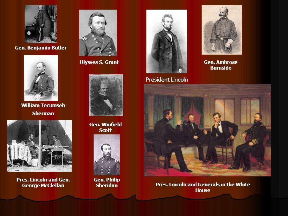 President Lincoln Gen. Benjamin Butler Ulysses S. Grant