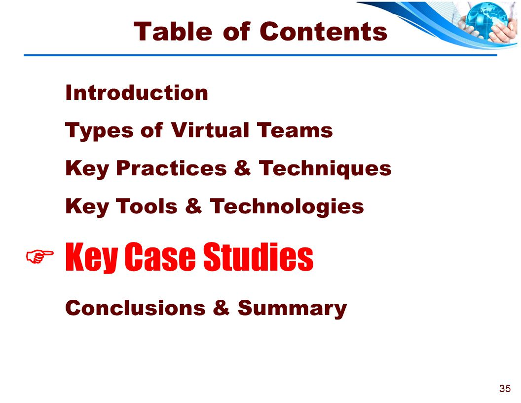 Key Case Studies Table of Contents Introduction
