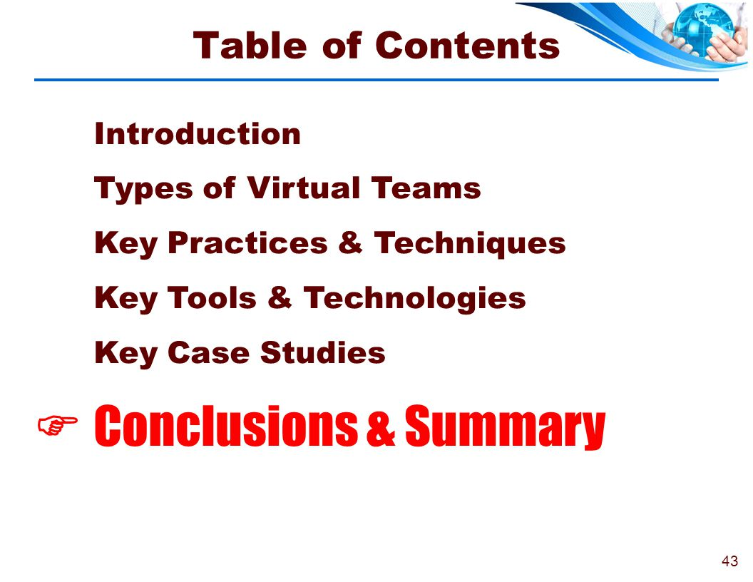  Conclusions & Summary