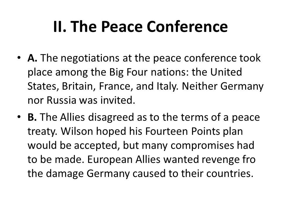 II. The Peace Conference