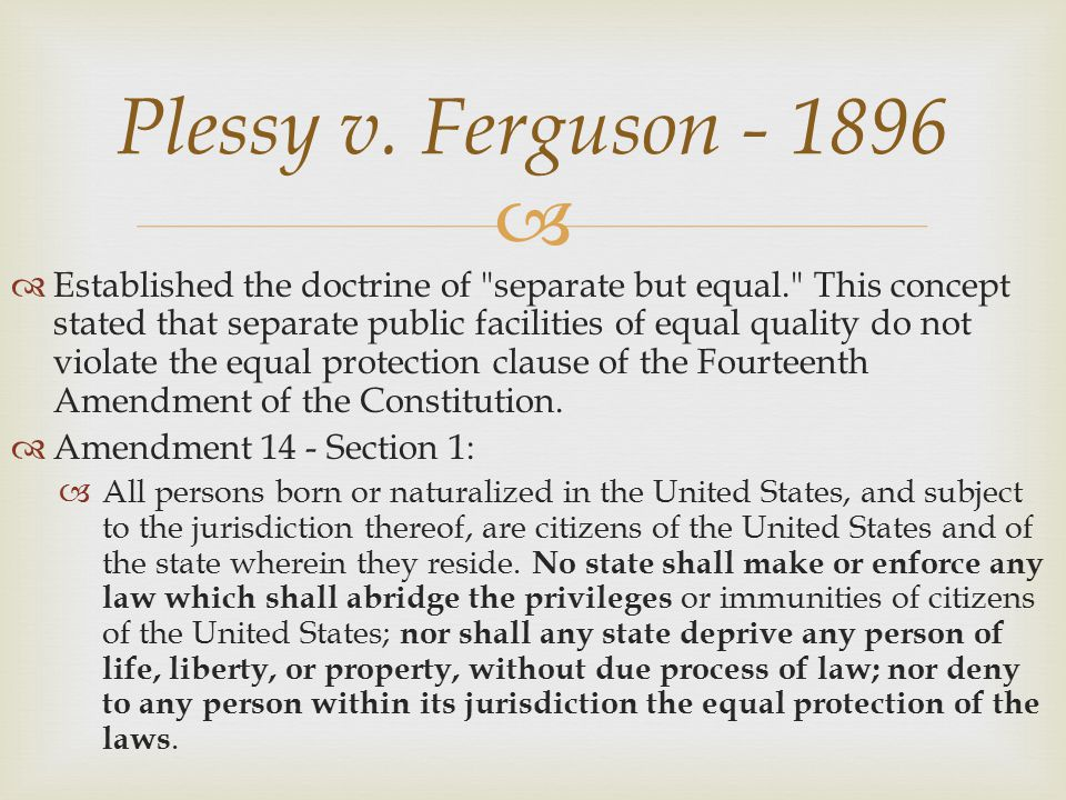 plessy v ferguson essay question Plessy v ferguson questions including how did the court rule in plessy and was plessy v ferguson a boy or a girl.
