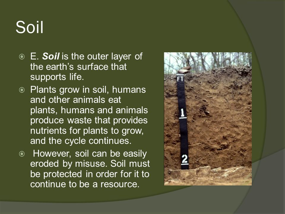 Soil E. Soil is the outer layer of the earth's surface that supports life.