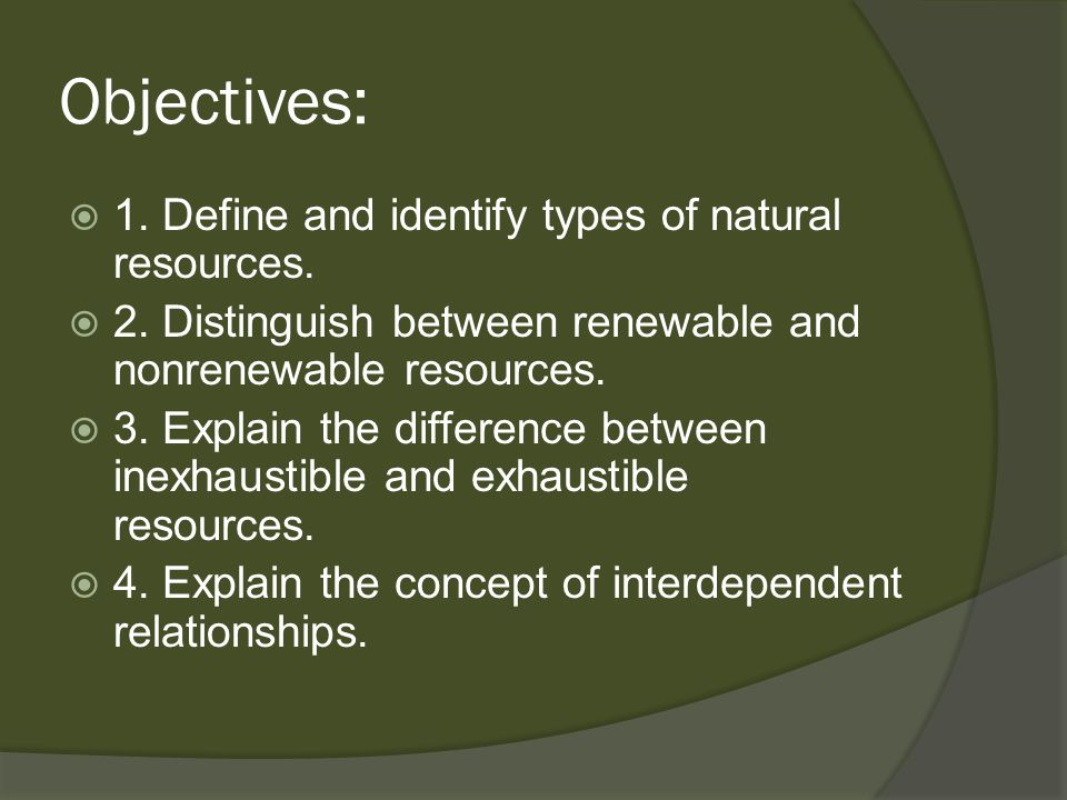 Objectives: 1. Define and identify types of natural resources.