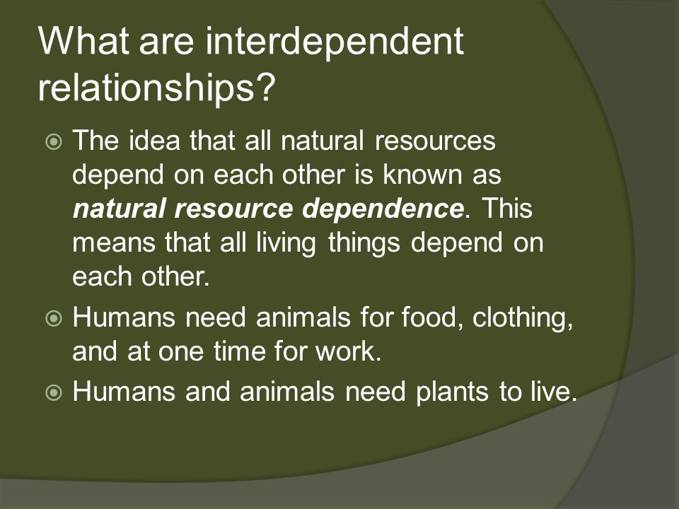 What are interdependent relationships