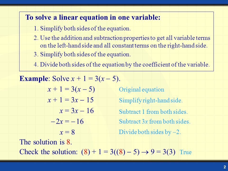 Using Equations To Solve Problems