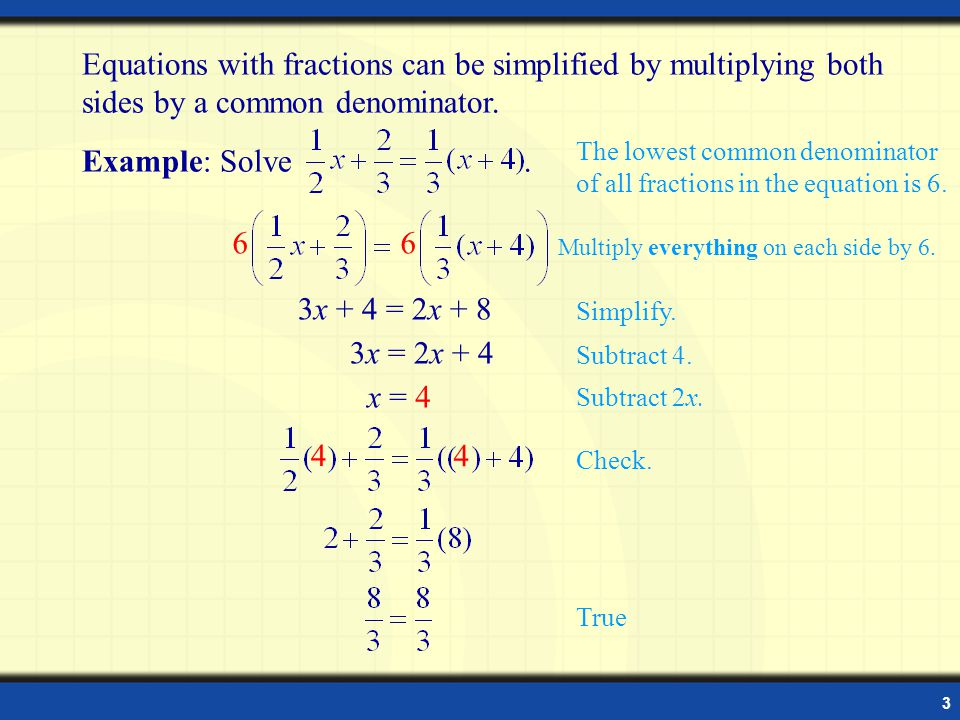 how to solve linear equations with fractions on one side