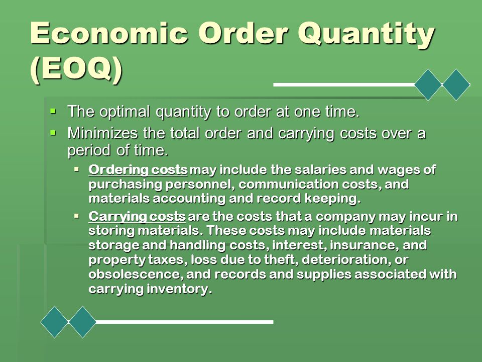 economic order quantity and optimal order Formula that calculates the optimal economic order quantity he also mentions how ford w harris contribution to the eoq formula was significant.