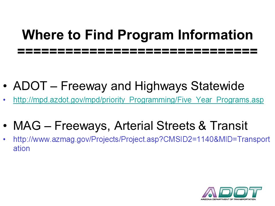 Where to Find Program Information ==============================